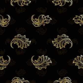 Gouden vintage naadloze bloemmotief. mode eindeloze bloemen herhalingsachtergrond, vectorillustratie