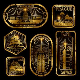 Gouden vintage reiszegels met monumenten en bezienswaardigheden