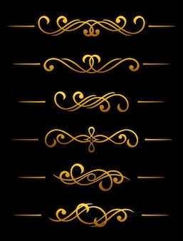 Gouden vintage scheidingslijn en grens elementen instellen voor sierlijke