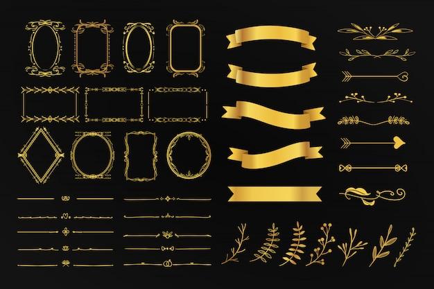 Gouden vintage set verzameling ornament bloemen frame verdeler, pijl en lint detail voor bruiloft kaart en promotie.