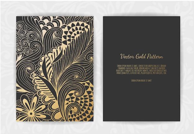 Gouden vintage wenskaart op zwart
