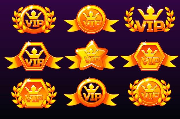 Gouden vip-pictogrammen die zijn ingesteld voor onderscheidingen die pictogrammen voor mobiele games maken