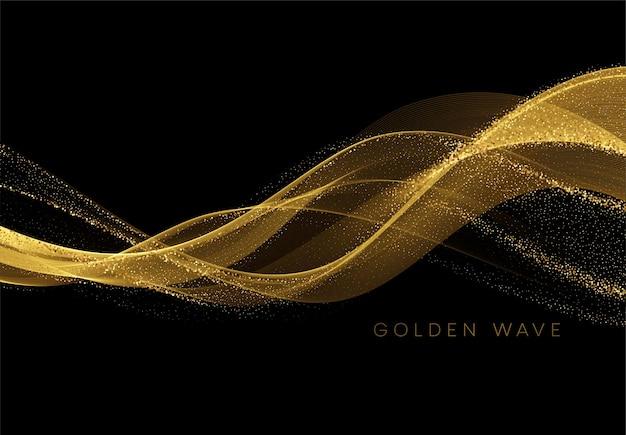 Gouden vloeiende golf met pailletten glitter stof op zwart. Premium Vector