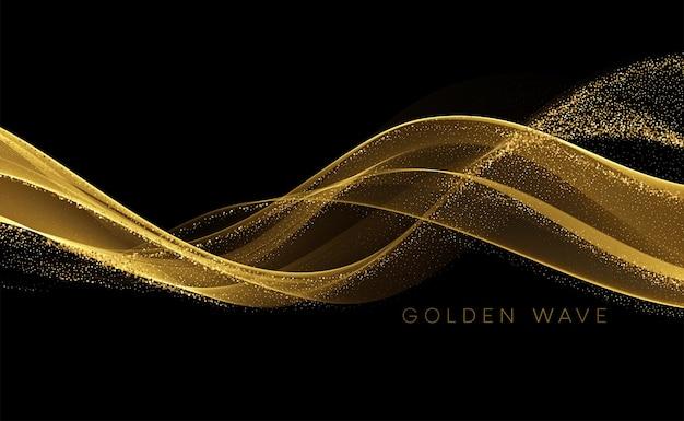 Gouden vloeiende golf met pailletten glitter stof op zwart.