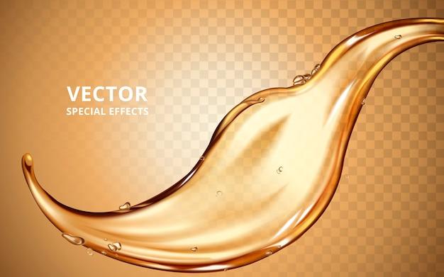 Gouden vloeistofstroomelement, kan als speciaal effect worden gebruikt
