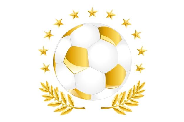 Gouden voetbal met lauriertak en gouden ster, geïsoleerd op wit