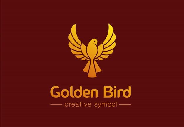 Gouden vogel tijdens de vlucht creatief symbool concept. premium sieraden, mode abstract bedrijfslogo idee. feniks, duif, kolibrie icoon