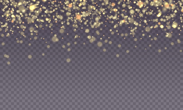 Gouden vonk glitter met gloed lichteffect schijnt wazig bokeh vrolijk kerstfeest gele ster