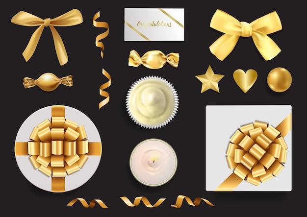 Gouden voorwerpen set elementen voor het begroeten van verjaardagskaarten huwelijksuitnodiging cadeaubon en covers