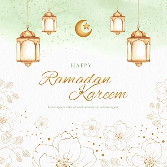 Gouden vormbloemen met lantaarn op groene ramadan kareem-groetkaart