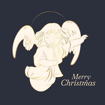 Gouden vrolijke kerst engel