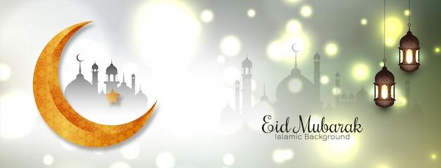 Gouden wassende maan eid mubarak festival islamitische banner