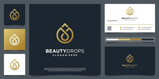 Gouden waterdruppel en olijfolie luxe logo sjabloon en visitekaartje ontwerp