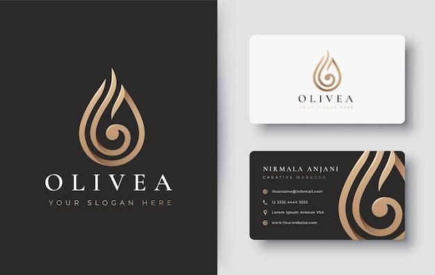 Gouden waterdruppel / olijfolie logo en visitekaartje ontwerp