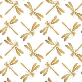 Gouden waterjuffer naadloos patroon