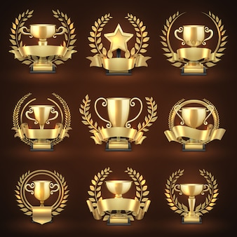 Gouden winnaar trofee cups, prijzen van sportsporten met gouden kransen en linten. embleemkampioenschap en leiderschapscollectie. vector illustratie