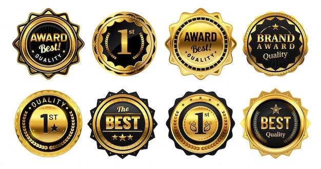 Gouden winnaarbadges. retro gouden kwaliteitsstempel, exclusieve cirkel badge en heraldische award vector illustratie set