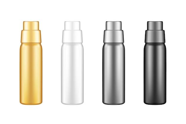 Gouden, witte, zilveren en zwarte shampoo lege plastic fles mockup set