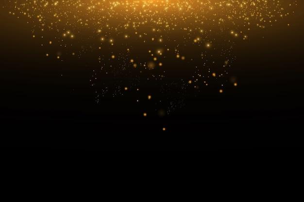 Gouden wolk glitter golf abstracte illustratie. gouden ster stofspoor sprankelende deeltjes op zwarte achtergrond. concept.