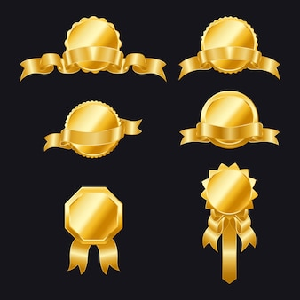 Gouden zegels met linten. set linten en etiketten. gouden lint banners