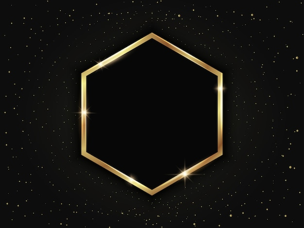 Gouden zeshoekig frame. geometrische luxe sjabloon op donkere achtergrond