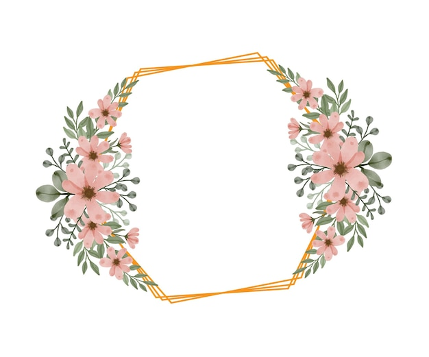 Gouden zeshoekig frame met aquarel bloemen