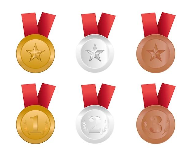 Gouden, zilveren, bronzen en platina blanke medailles