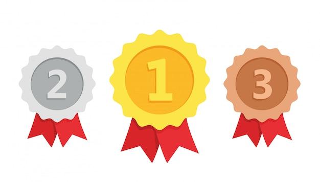 Gouden, zilveren, bronzen medaille 1e, 2e en 3e plaats trofee met rood lint vlakke stijl