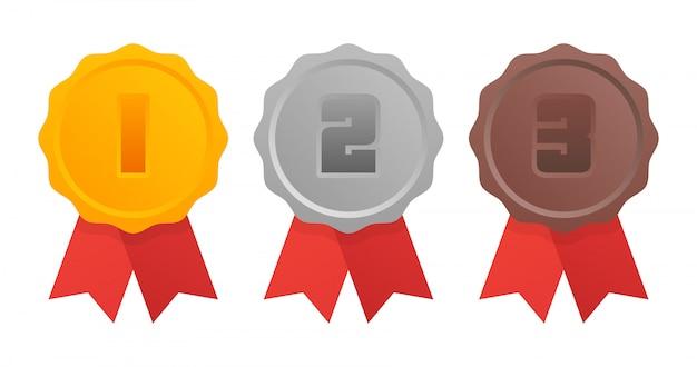 Gouden, zilveren, bronzen medaille. 1e, 2e en 3e plaats.