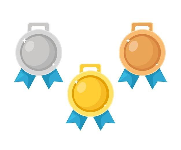 Gouden, zilveren, bronzen medaille set. trofee, onderscheiding voor winnaar