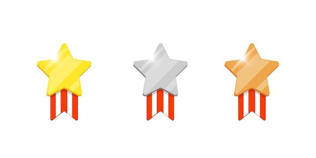 Gouden zilveren bronzen medaille ster beloning set voor computer video game of mobiele apps animatie. eerste tweede derde plaats bonus prestatie award. winnaar trofee geïsoleerde platte eps pictogram vectorillustratie