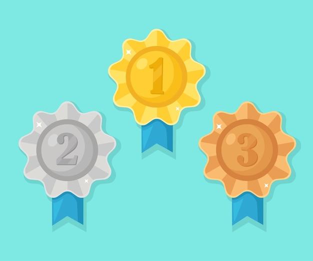Gouden, zilveren, bronzen medaille voor de eerste plaats