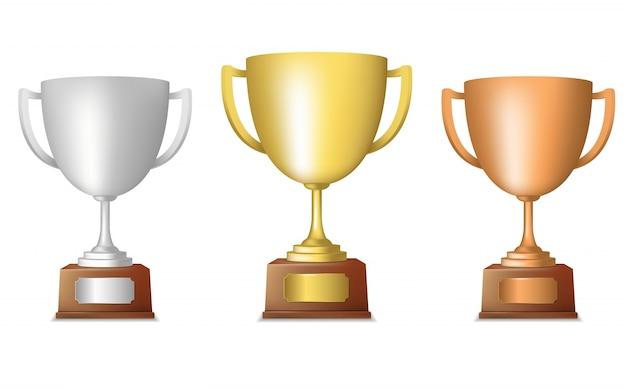 Gouden zilveren bronzen metallic trofee cup set geïsoleerd vector illustratie