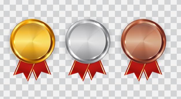 Gouden, zilveren en bronzen medaille. badge van de eerste, tweede en derde plaats.