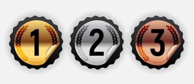 Gouden, zilveren en bronzen medaille. badge van het pictogram eerste, tweede en derde plaats.