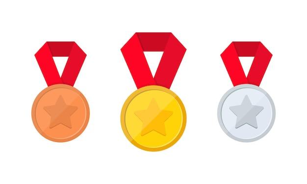 Gouden, zilveren en bronzen medaille icon set of eerste, tweede en derde plaats of award medailles icoon