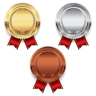 Gouden zilveren en bronzen medaille illustraion