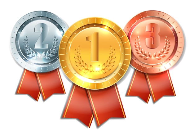 Gouden, zilveren en bronzen medaille, realistisch