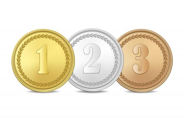 Gouden, zilveren en bronzen medailles op witte achtergrond. de eerste, tweede, derde prijs.