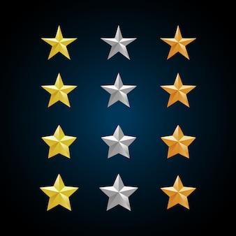 Gouden zilveren en bronzen sterren.