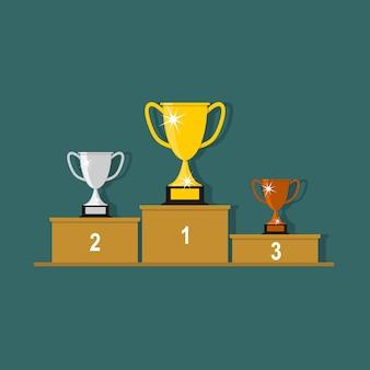 Gouden, zilveren en bronzen trofee cup