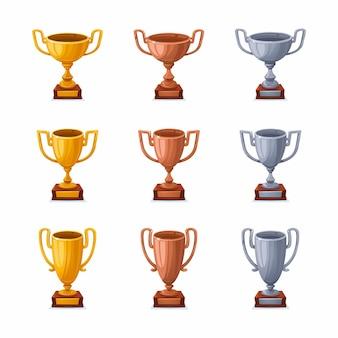 Gouden zilveren en bronzen trofeekoppen