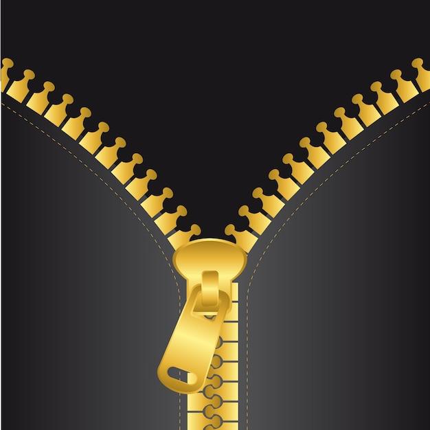 Gouden zip vector met zwarte jas achtergrond vectorillustratie