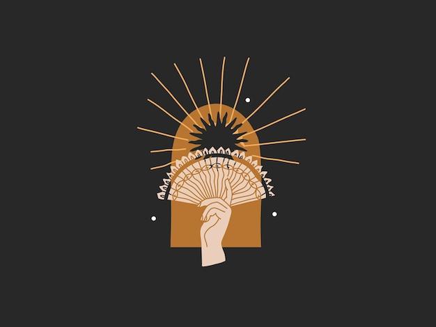 Gouden zon en vrouw dienen boog magische lijntekeningen in