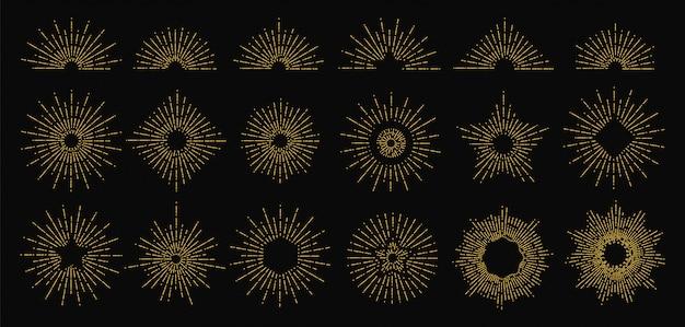Gouden zonnestraal. stralende stralen pictogrammen. vintage zon vlam elementen. hipster stijl doodle logo ontwerp
