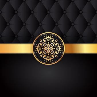 Gouden zwarte achtergrondontwerpvector. zon indiaas patroon