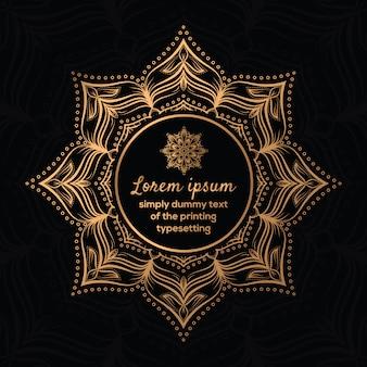 Gouden zwarte ronde patroon frame ontwerp vector