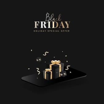 Gouden zwarte vrijdag Premium Vector