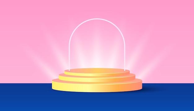 Goudgeel productpodium met licht op blauwe en roze achtergrond. geschikt voor webbanners, diagrammen, infographics, boekillustraties, sociale media en andere grafische elementen