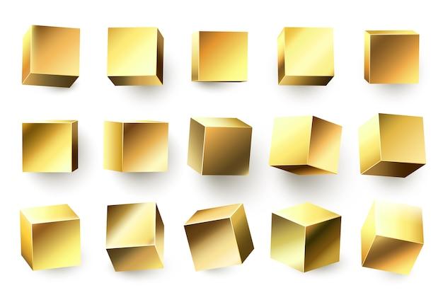 Goudkleurige metalen kubus. realistische geometrische 3d vierkante vorm, gouden metalen kubussen en glanzende gele vormen